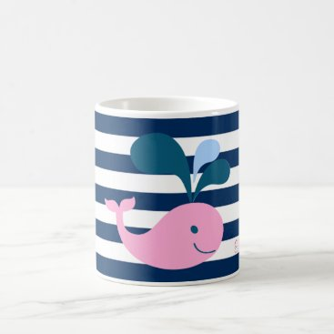 Beach Themed Cute Baby Whale, Navy Blue Stripes-Personalized Coffee Mug