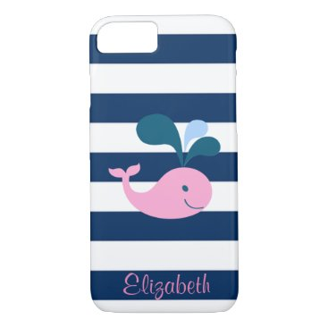Beach Themed Cute Baby Whale, Navy Blue Stripes-Personalized iPhone 8/7 Case