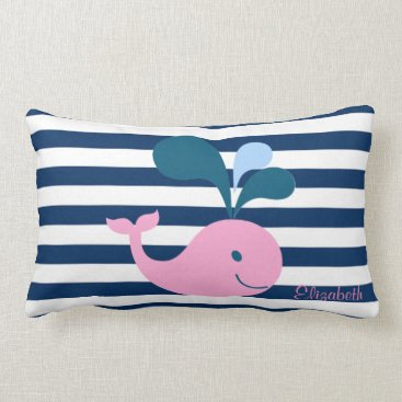 Beach Themed Cute Baby Whale, Navy Blue Stripes-Personalized Lumbar Pillow