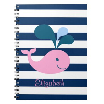 Beach Themed Cute Baby Whale, Navy Blue Stripes-Personalized Notebook