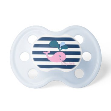 Beach Themed Cute Baby Whale, Navy Blue Stripes-Personalized Pacifier