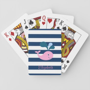 Beach Themed Cute Baby Whale, Navy Blue Stripes-Personalized Playing Cards
