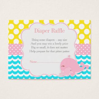 Cute Baby Whale Pink Girl Baby Diaper Raffle Business Card