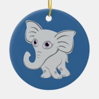 Cute Baby White Elephant With Curling Trunk Ceramic Ornament
