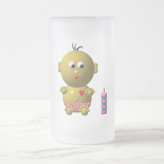 Cute baby with heart! frosted glass beer mug
