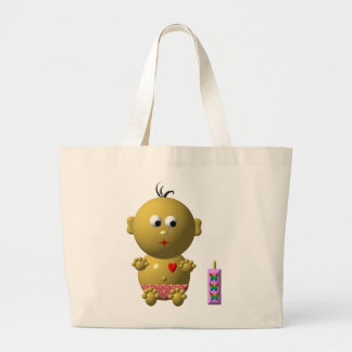 Cute baby with heart! large tote bag