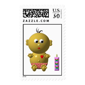 Cute baby with heart! postage
