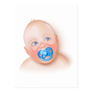 Cute baby with pacifier postcard
