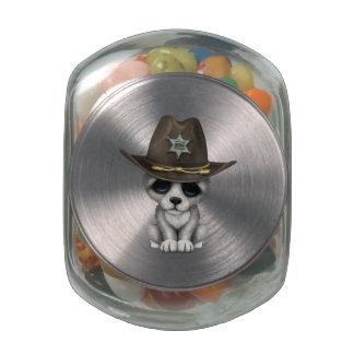 Cute Baby Wolf Sheriff Glass Jar