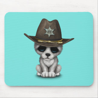 Cute Baby Wolf Sheriff Mouse Pad