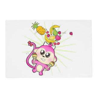Cute baby zoo animal monkey placemat
