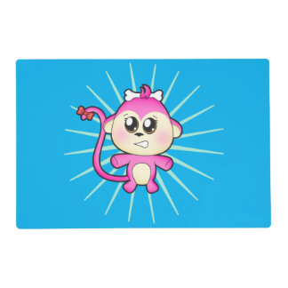 Cute baby zoo animal monkey up to mischief placemat