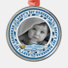 Cute Baby's 1st Hanukkah Dreidels Photo Name Metal Ornament at Zazzle