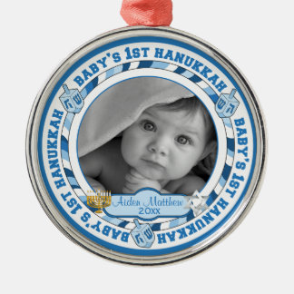 Cute Baby's 1st Hanukkah Dreidels Photo Name Metal Ornament
