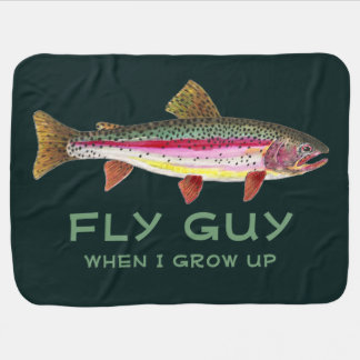 Cute Baby's Rainbow Trout Fly Fishing Stroller Blanket