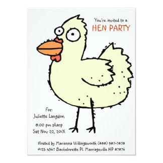 Cute Bachelorette Party White  Hen Cartoon Card