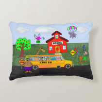"Cute ""Back To School"" with Funny Animals Accent Pillow"