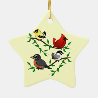 Cute Backyard Birds Ceramic Ornament