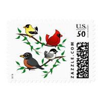 Cute Backyard Birds Small Stamp 1.8