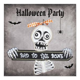 Cute Bad to the Bone Damask Halloween Party Invite