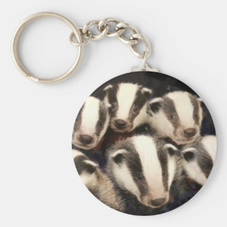 Cute Badger Cubs Basic Round Button Keychain