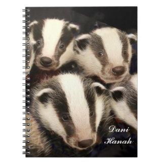 Cute Badger Cubs Spiral Notebook
