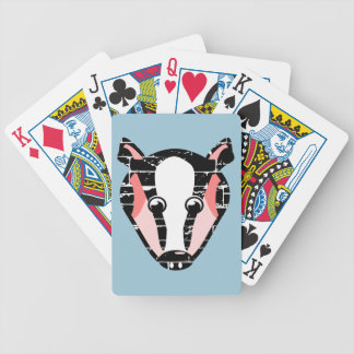 Cute Badger Face Bicycle Playing Cards