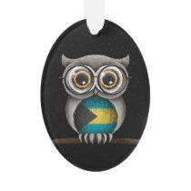Cute Bahamas Flag Owl Wearing Glasses Ornament