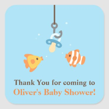 Toddler & Baby themed Cute Bait Fishing Baby Shower Thank You Stickers