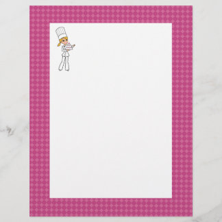 Cute Baker Chef Art Unlined Recipe Page