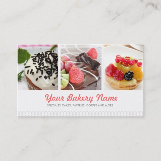 cute bakery business card with 4 photos - Bakery Business Cards