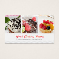 Cute Bakery Business Card With 4 Photos at Zazzle