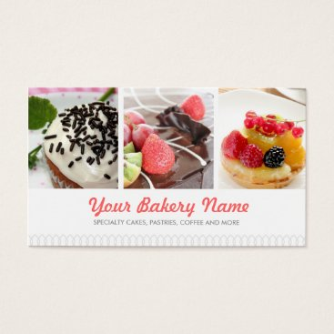 Professional Business Cute Bakery Business Card with 4 Photos