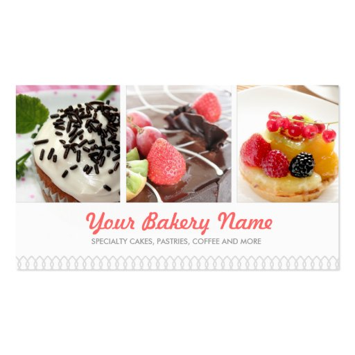 Cute Bakery Business Card with 4 Photos