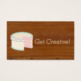 Cute Bakery Cake Antique Inspired Textured Wood Business Card