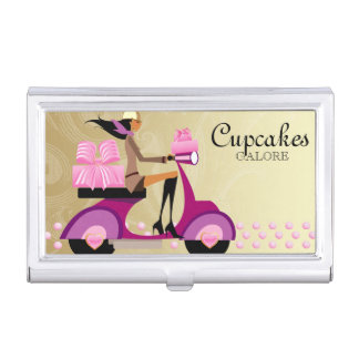 Cute Bakery Cupcake Gold Bakery Box Business Card Case