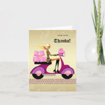 Cute Bakery Gift Box Scooter Girl Thank You Card