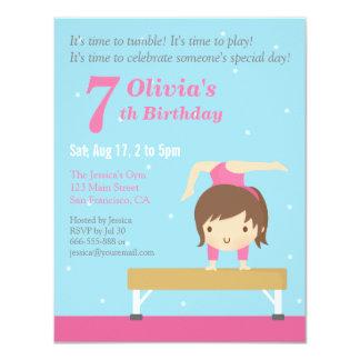 Cute Balance Beam Gymnastics Girl Birthday Party 4.25x5.5 Paper Invitation Card