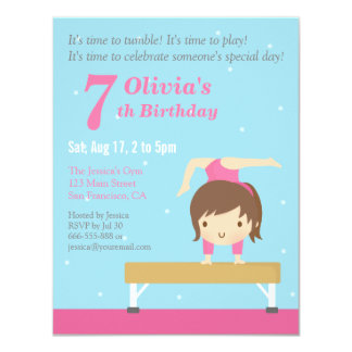 "Cute Balance Beam Gymnastics Girl Birthday Party 4.25"" X 5.5"" Invitation Card"
