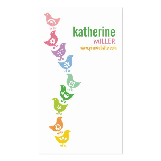 Cute Balancing Retro Rainbow Chicks Profile Card