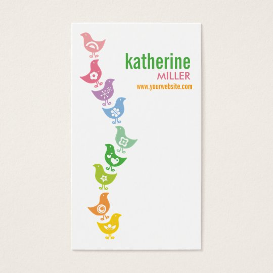 Cute Balancing Retro Rainbow Chicks Profile Card