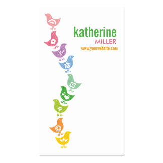 Cute Balancing Retro Rainbow Chicks Profile Card Double-Sided Standard Business Cards (Pack Of 100)