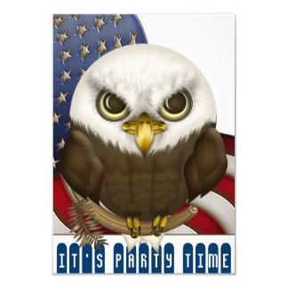 Cute Bald Eagle Patriotic Celebration Mini 3.5x5 Paper Invitation Card