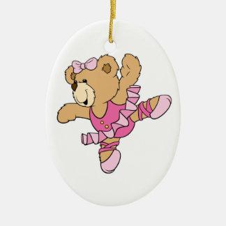 Cute Ballerina Bear Double-Sided Oval Ceramic Christmas Ornament