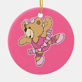 Cute Ballerina Bear Double-Sided Ceramic Round Christmas Ornament
