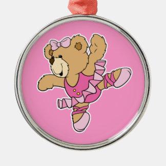 Cute Ballerina Bear Round Metal Christmas Ornament