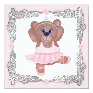 Cute Ballerina Cartoon Teddy Bear Baby Shower Card