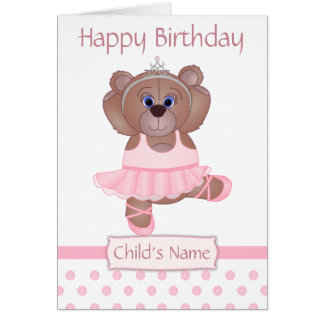 Cute Ballerina Cartoon Teddy Bear Birthday Card