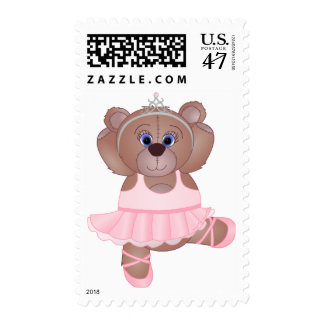 Cute Ballerina Cartoon Teddy Bear in Pink Postage