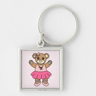 Cute Ballerina Dancing Teddy Bear - Pink Keychain